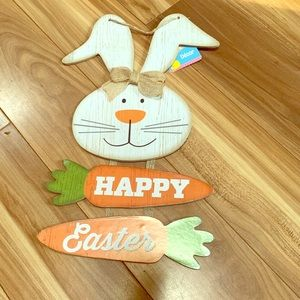 Other - Happy Easter bunny carrot burlap bow rustic sign